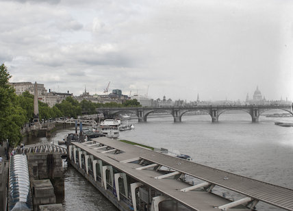 Embankment, Waterloo Bridage and the River Thames