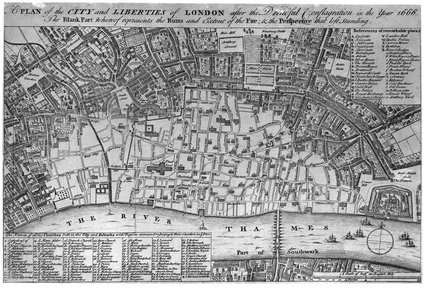 A map of London after the great Fire; 1756