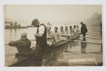 Cambridge University oarsmen at the Boat Race; 1914
