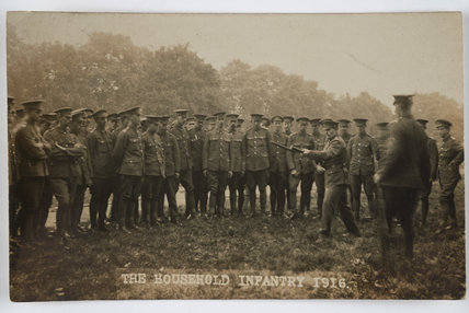 Bayonet practice the Household Infantry, 1916