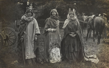 Women dressed as Ethelburga of Kent, c.1910