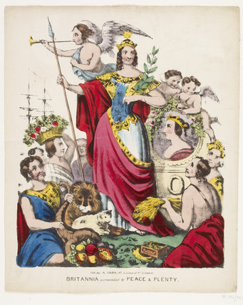 Britannia surrounded by Peace and Plenty: c.1840