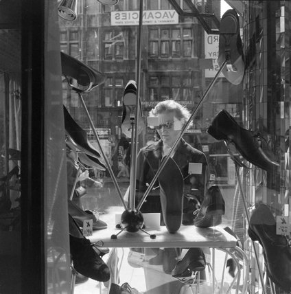 Shoe shop window in Oxford Street,1960.