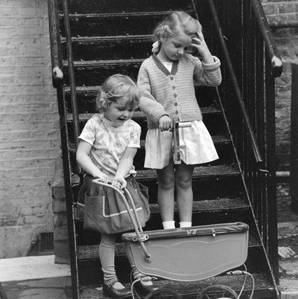 Two girls at the St Anne's Nursery School, Holland Park; 1962