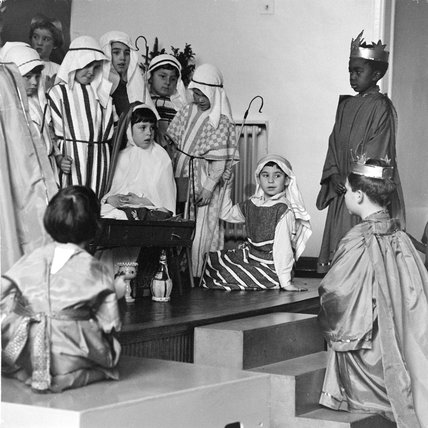 Children acting in a school Nativity Play, 1961.
