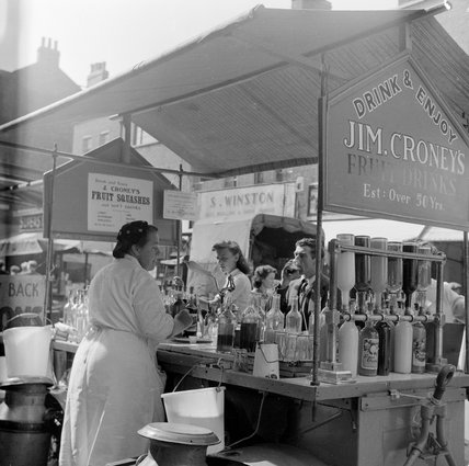Jim Croney's Fruit and drink stall, Chappel Street Market