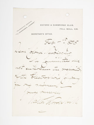 Handwritten letter  to the Secretary of the Reform Club