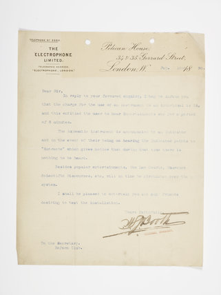 Typed letter sent to the Secretary of the Reform Club; 1895