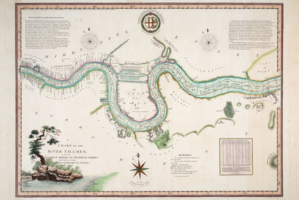 Map Of London Bridges Over The Thames.A Chart Of The River Thames From London Bridge To Woolwich Warre By