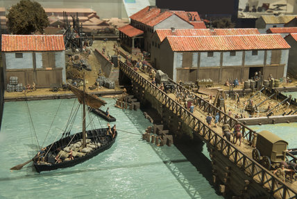 Reconstruction model of the port of Roman London c.100AD: Roman London Gallery: 2016
