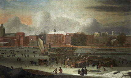 A Frost Fair on the Thames at Temple Stairs; 1684