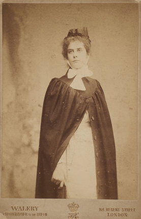 Portrait of Suffragette Sarah Carwin in her nurses uniform; 1905