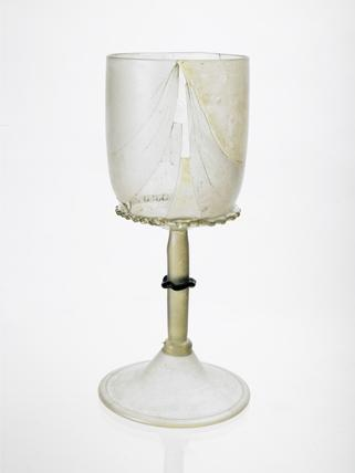 Clear glass goblet: 14th century