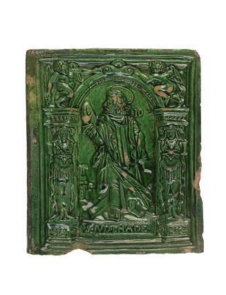 Green glazed tile with depiction of St. Jude: early 16th century