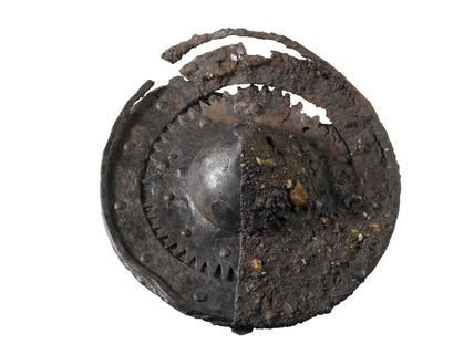 Small circular iron shield or buckler: late 14th century