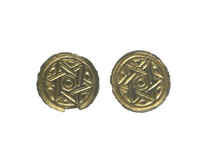 Gold and copper alloy brooches with 'Star of David' design: 6th century