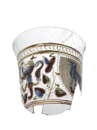 Fragment of glass beaker: late 13th - early 14th century