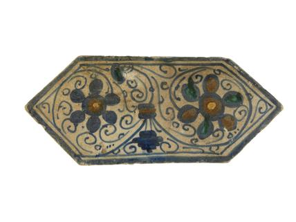 Long hexagonal paving tile: early-mid 16th century