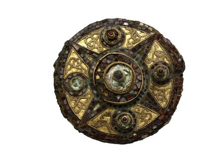 Saxon  brooch with gold and square garnets: late 7th century