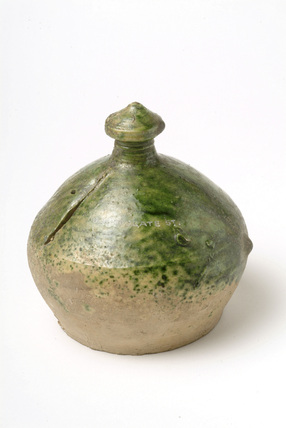 Green glazed money box: late 16th - early 17th century