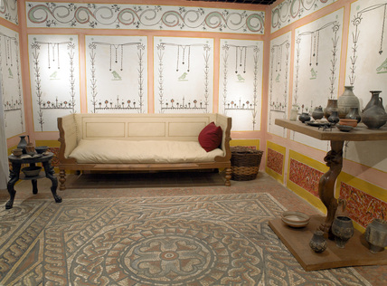 Detail Of A Reconstructed Roman Living Room At Museum Of