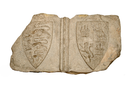 Carved slab from the Cheapside Cross: 13th century