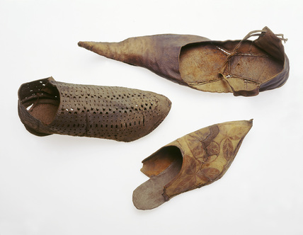 Selection of decorated leather shoes: 13th-14th century