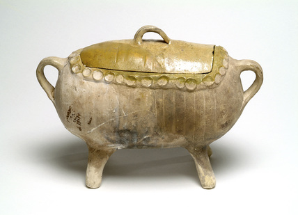 Yellow-glazed handled casserole: 16th-17th century