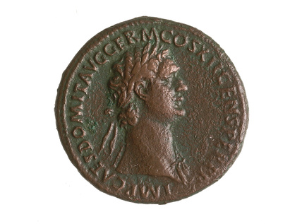 Roman coin with laureate head of Domitian