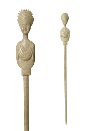 Roman bone hairpin with carved head of Vibia Sabina