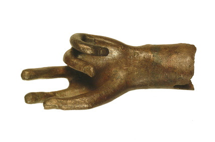Left hand of a Roman bronze statue
