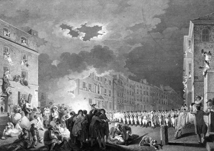 Gordon Riots: View of the riot in Broad Street on 7 June 1780