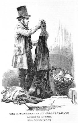 The Street-Seller of Crockery-Ware Bartering for Old Clothes: 19th century
