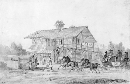 Coach and Horses calling at Swiss Cottage: 19th century