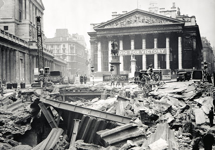 Bomb damage at the Bank Underground Station: 1941