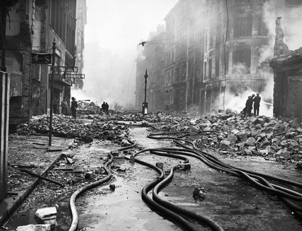 Bomb damage at Newgate Street: 1940