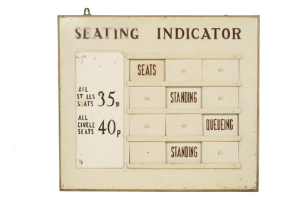 Cinema seating indicator sign: 20th century