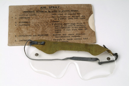 Anti-gas goggles and cardboard packet: 20th century