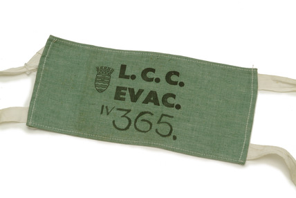 Arm band worn during the evacuation of children in World War II: 20th century