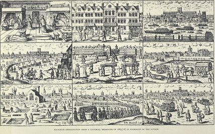 Detail of plague broadsheet comprising nine scenes relating to the 1665 plague