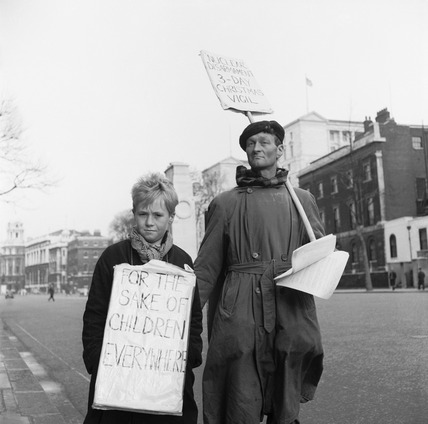 A man and boy nuclear protesters: 1959