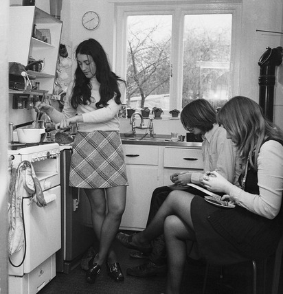 Young students in the kitchen of a shared flat: 20th century