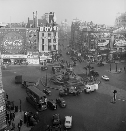 An elevated view of Piccadilly Circus: 20th century