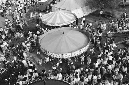 Aerial view of fun fair at Brent Cross: 20th century