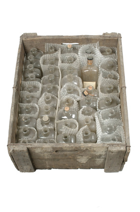 Large crate with fourty four glass bottles: 20th century