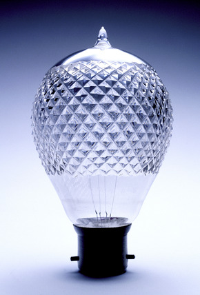 Cut glass Ediswan electric light bulb: c. 1890
