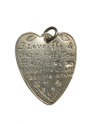 Silver heart shaped pendant: late 17th century