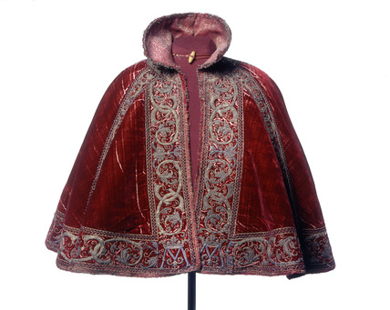 Front of a crimson silk velvet cloak: 16th century