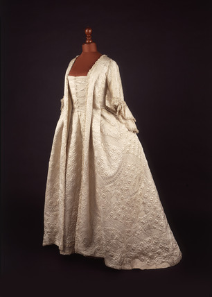 White silk satin open robe dress: 18th century
