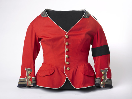 Red collarless military style riding jacket: 1856